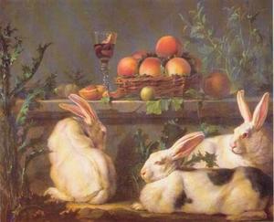 Stilleven met konijnen en fruit