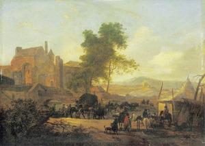 Soldaten en boeren op een dorpsplein