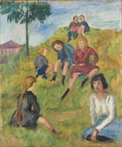Kinderen zittend op een heuvel (Parijs)