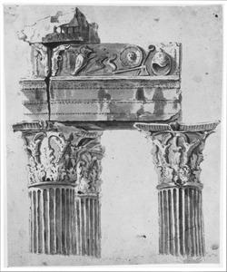 Drie zuilen van de tempel van Vespasianus op het Forum Romanum in Rome