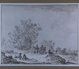 Landschap met paard en wagen en figuren