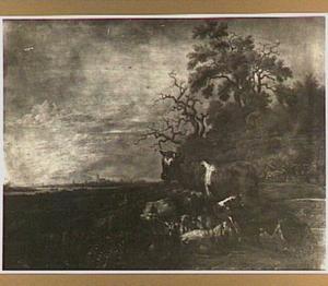 Landschap met vee (op de achtergrond Dordrecht?)