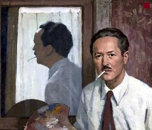 Zelfportret met sigaret en schilderspalet