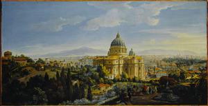 Rome, gezicht op de apsis van de Sint Pieter vanaf de Vigno di Santo Spirito