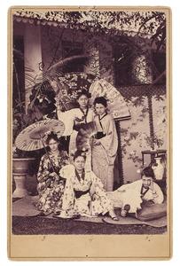 Portrait van Coba van Houten, E. Bishop, A. Kist, Marie van Houten en K. Kist