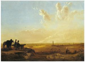 Gezicht vanaf de Koningstafel op de Heimenberg naar de stad Rhenen met reizigers, boeren, paarden en schapen
