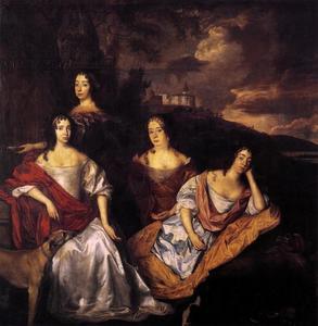 Portret van Louise Henriette (1627-1667), Albertine Agnes (1634-1696), Henriette Catharina (1637-1708) en Maria (1642-1688) van Oranje-Nassau