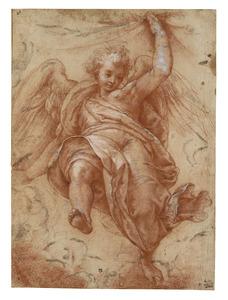 Een engel, een draperie vasthoudend