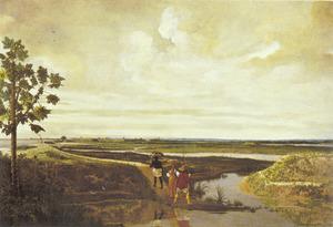 Tropisch landschap met enkele reizigers op een ondergelopen weg; op de achtergrond Fort Frederik Hendrik