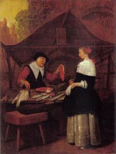 Jonge vrouw bij een viskraam met een visverkoopster