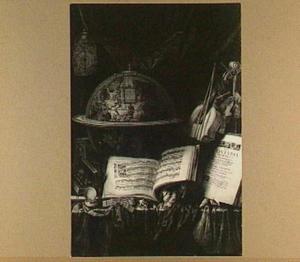 Vanitasstilleven met globe en muziekboek