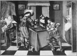 Kamer met drie triktrak spelende mannen en amoureus paar