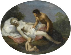 Slapende Venus door een sater bespied
