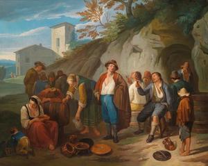 Feestend boerengezelschap nabij een dorp