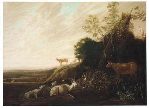Landschap met vee rustend in de schaduw