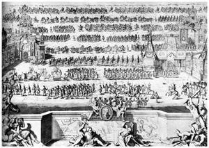 Feestelijke intocht van het Russische leger in Moskou na de overwinning van Poltava op 21 december 1709