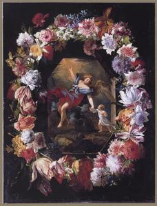Bloemenkrans rond een scène van een kind met een beschermengel
