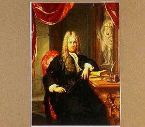 Portret van een man, zittend in zijn studeervertretk