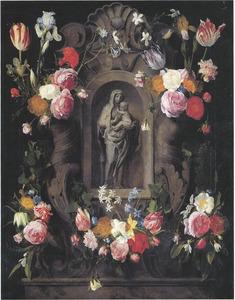 Gebeeldhouwde cartouche met bloemen met een beeldje van Maria met kind