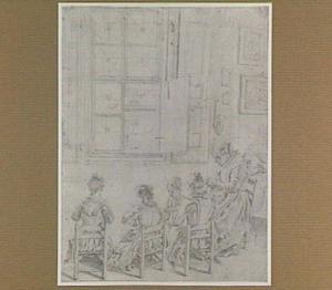 Interieur met breiende vrouw en vier breiende meisjes