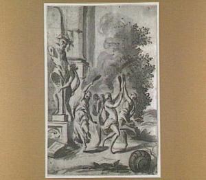 Dansende figuren bij een tuinbeeld