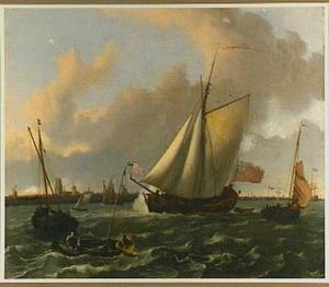 Schepen op de Maas voor Dordrecht
