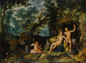 Venus en Adonis als minnaars rustend na de jacht (Ovidius, Metamorfoses 10:529-559)