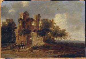 Landschap met ruiters voor een  ruïne