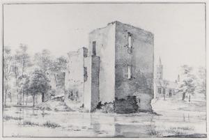 Kasteel Lievendaal met rechts de kerk van  Amerongen