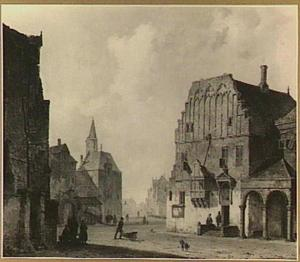 Gezicht op het oude stadhuis van Arnhem (afgebroken in 1840), met fantasie-elementen