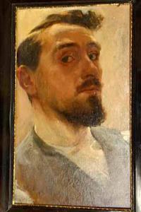 Zelfportret van een schilder, genaamd Nicolaas van der Waay (1855-1936)