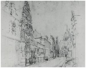 Het weeshuis in de Westerstraat te Enkhuizen met in de achtergrond de Westerkerk