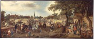 De prinsen van  Maurits en Frederik Hendrik van Oranje op de paardenmarkt te Valkenburg