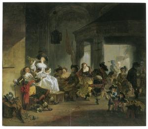 Feestvierende vrouwen en soldaten