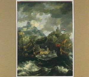 Hollandse driemaster en Turkse galei voor een rotsachtige kust