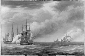 Het zeegevecht bij Cadiz tussen de Nederlandse fregatten 'Castor' en 'Brielk' en de Engelse fregatten 'Crescent' en 'Flora', 30 mei 1781