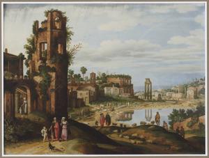 Gezicht op het Forum Romanum te Rome met de wegzending van Hagar en Ismaël (Genesis 21:16-21)