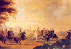 Leopold I ontmoet Johann Sobieski, Koning van Polen