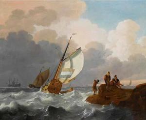 Nederlandse zeilschepen in woelig water, met op de voorgrond vissers op de rotsen en een stad in de verte aan de andere kant van het water