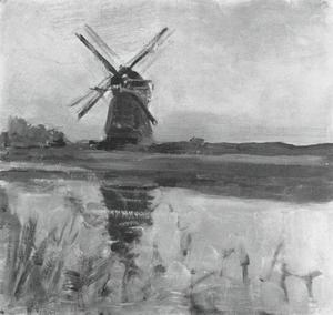 Oostzijdse mill, oil sketch in square format