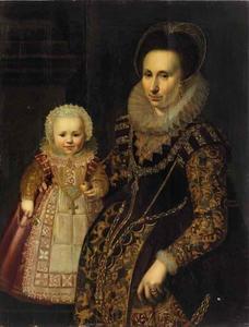 Dubbelportret van een vrouw met een kind, mogelijk Catharina de Rechtere (1567-?) en haar dochter Mechteld Catharina van Santen (1600-1677)