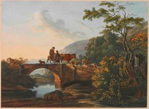 Herders op een brug