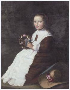 Portret van een onbekend meisje met een bloemenkrans