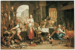 Interieur van een keuken met de gelijkenis van het grote gastmaal (Lukas 14:12-24)