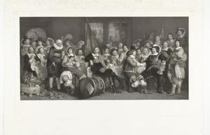 De schuttersmaaltijd in de Voetboog- of St. Jorisdoelen te Amsterdam ter viering van het sluiten van de vrede van Munster, 18 juni 1648