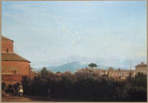 Landschap met gezicht op Rome vanuit de tuin van de Villa Celimontana