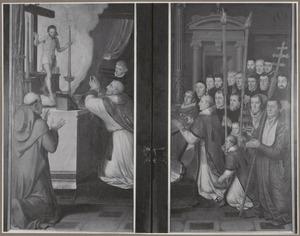Abraham en Melchisedek (binnenzijde links), Het Laatste Avondmaal (midden), De profeet Elia en de engel (binnenzijde rechts); De Gregoriusmis, bijgewoond door de leden van de Sacramentsbroederschap van de Sint-Salvatorskerk in Brugge (buitenzijde)