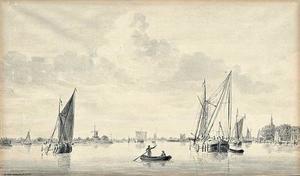 Oude Maas met rechts de Groothoofdspoort in Dordrecht en in de achtergrond de ruïne van Huis te Merwede