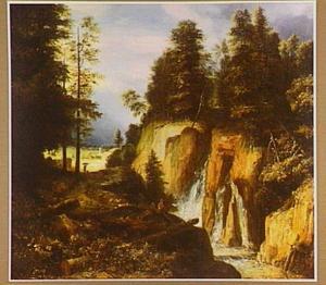 Bebost rotslandschap met waterval en rustende herders