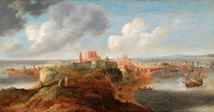 Kustlandschap met een versterkte havenstad (Rochester, Kent?) op een landtong; rechts lost een Engels oorlogsschip een saluutschot